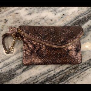 New York & Co rose gold (pink) snakeskin wristlet